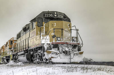 Train In The Winter Photograph - Harsh Winter On The Rails by Nick Mares