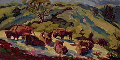 Hart Ranch Buffalo Original by Jane Thorpe