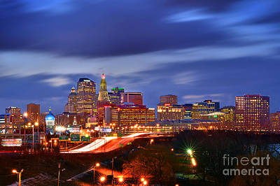 Urban Scenes Photograph - Hartford Skyline At Night by Jon Holiday