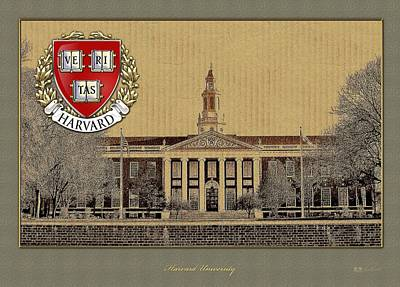 Coat Of Arms Digital Art - Harvard University Building Overlaid With 3d Coat Of Arms by Serge Averbukh