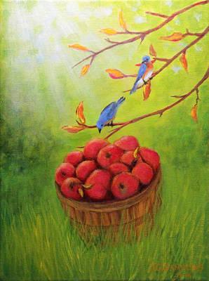 Harvest Apples And Bluebirds Original by Janet Greer Sammons