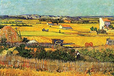 Meadow Painting - Harvest At La Crau With Montmajour In The Background by Vincent Van Gogh