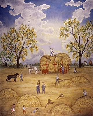 Impressionistic Landscape Painting - Harvest by Linda Mears