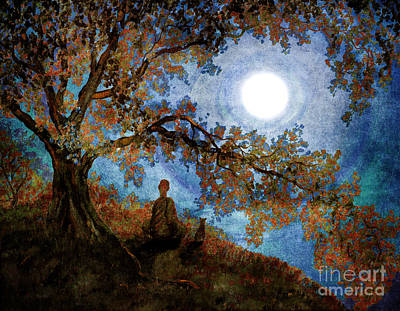 Buddhism Digital Art - Harvest Moon Meditation by Laura Iverson