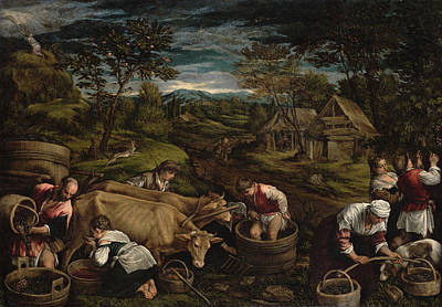Harvest, Moses Receives The Ten Commandments, 1576 For Detail See 65690 Print by Jacopo Bassano