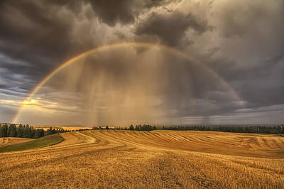Dark Clouds Photograph - Harvest Rainbow by Mark Kiver