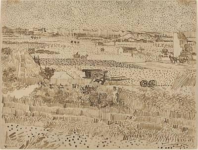 Harvest  The Plain Of La Crau Print by Vincent van Gogh