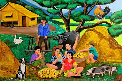 Huts Painting - Harvest Time by Cyril Maza