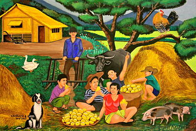 Nipa House Painting - Harvest Time by Lorna Maza