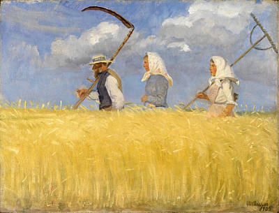 Anna Ancher Painting - Harvesters by Anna Ancher