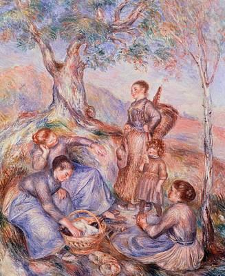 Women Together Painting - Harvesters Breakfast by Pierre-Auguste Renoir
