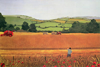 Harvesting In The Cotswolds Print by Maggie Rowe
