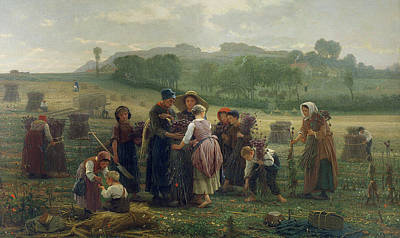 Realist Photograph - Harvesting Poppies In Picardy, 1860 Oil On Canvas by Desire Francois Laugee