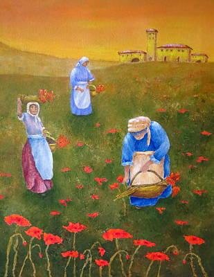 Harvesting Poppies In Tuscany Original by Pamela Allegretto
