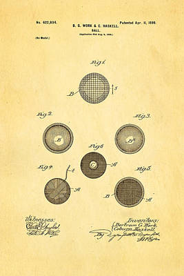 Haskell Wound Golf Ball Patent 1899 Print by Ian Monk