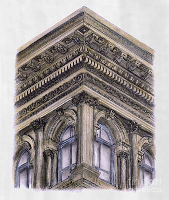 Cast Iron Drawing - Haughwout Building New York City by Gerald Blaikie
