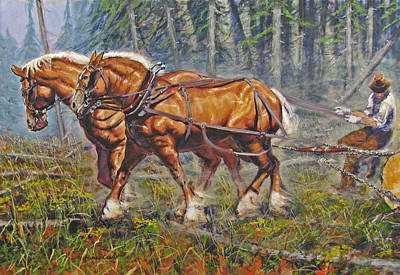 Logging Painting - Haul'n Out by Rick Clubb