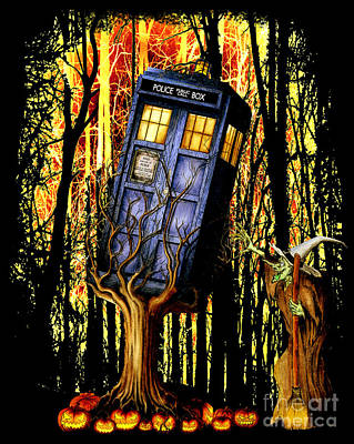 Fandom Drawing - Haunted Blue Phone Box Captured By Witch by Three Second