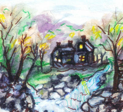 Haunted House Painting - Haunted House By Falls by Debbie Wassmann