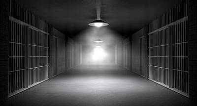 Haunted Jail Corridor And Cells Print by Allan Swart
