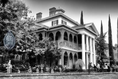 Haunted Mansion Digital Art - Haunted Mansion New Orleans Disneyland Bw by Thomas Woolworth