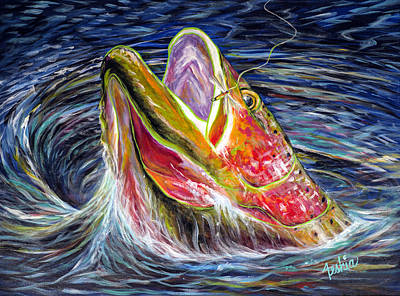 Trout Painting - Haunted Waters by Teshia Art