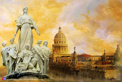 Pedro Painting - Havana National Capitol Building by Catf