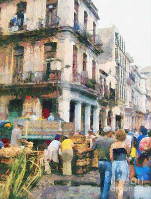 Social Issues Painting - Havana Street Market Scene Paint by Odon Czintos