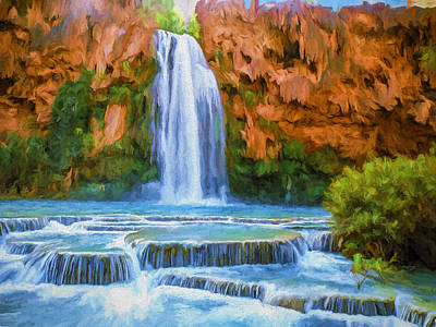 Falls Painting - Havasu Falls by David Wagner
