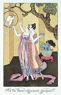 Women Together Painting - Have You Had A Good Dinner Jacquot? by Georges Barbier