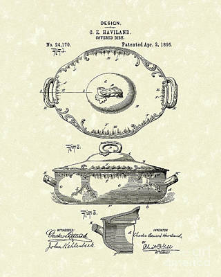 Edge Drawing - Haviland Dish 1895 Patent Art  by Prior Art Design