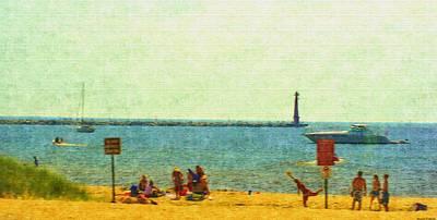Lake Michigan Drawing - Having Fun In The Sun by Rosemarie E Seppala