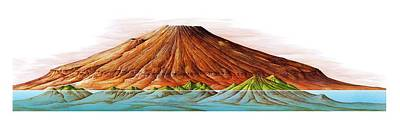 Hawaii And Olympus Mons Print by Gary Hincks