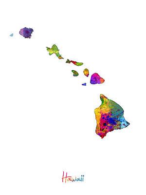 Kauai Digital Art - Hawaii Map by Michael Tompsett