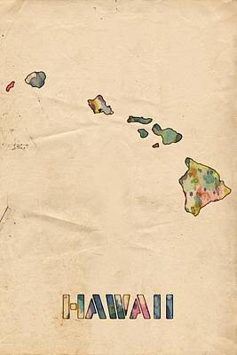 Watercolor Painting - Hawaii Map Vintage Watercolor by Florian Rodarte