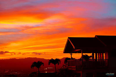Sunset Photograph - Hawaii Sunset Behind The Waianae Mountain Range by Eric Evans
