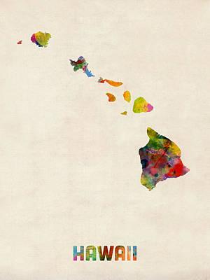 Kauai Digital Art - Hawaii Watercolor Map by Michael Tompsett