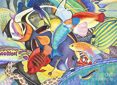 Hawaiian Fishes All The Way Down Original by Lucy Arnold