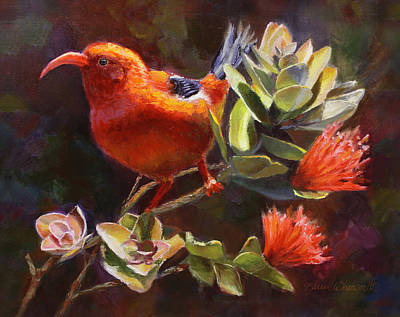 Endangered Wildlife Painting - Hawaiian IIwi Bird And Ohia Lehua Flower by Karen Whitworth