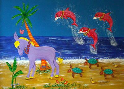 Donkey Mixed Media - Hawaiian Lei Parade by Pamela Allegretto