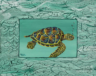 Honu Painting - Hawaiian Sea Turtle by Darice Machel McGuire
