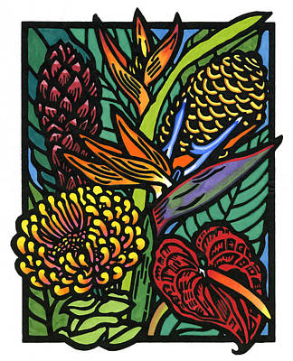 Lino Mixed Media - Hawaiian Tropical Flowers by Lisa Greig