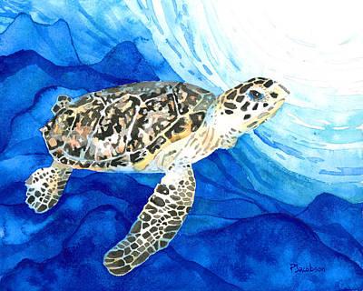 Scuba Painting - Hawksbill Sea Turtle 2 by Pauline Jacobson