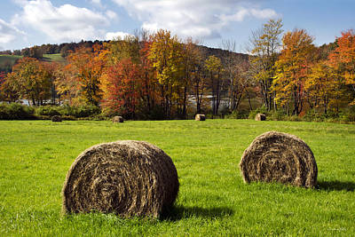 Hay Bales And Fall Colors Print by Christina Rollo