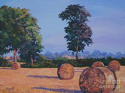 Haybale Painting - Hay-bales In Evening Light by John Clark