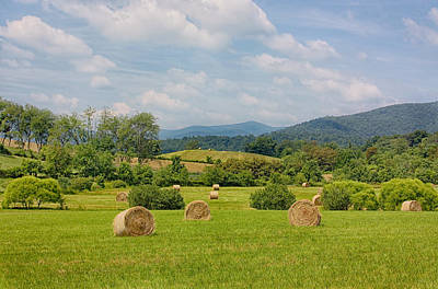 Hay Bales In Farm Field Print by Kim Hojnacki