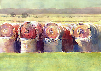 Farm Fields Painting - Hay Bales by Kris Parins