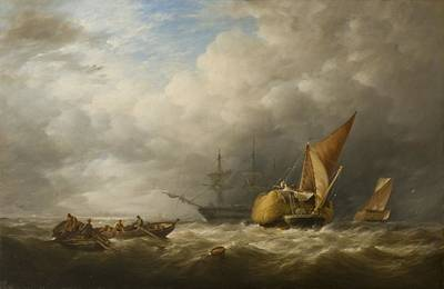 Hay Barges In The Thames Estuary Print by Alfred Herbert