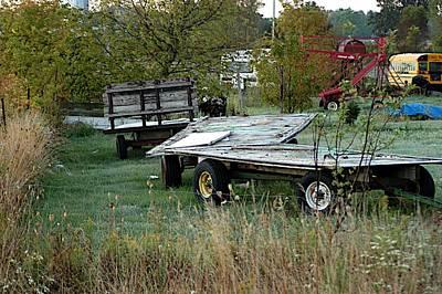 Hay Wagons Print by Joseph Yarbrough