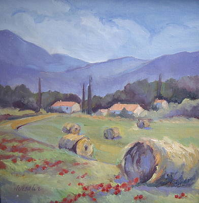 Haybale Painting - Haybales And Poppies Of Provence by Linda  Wissler